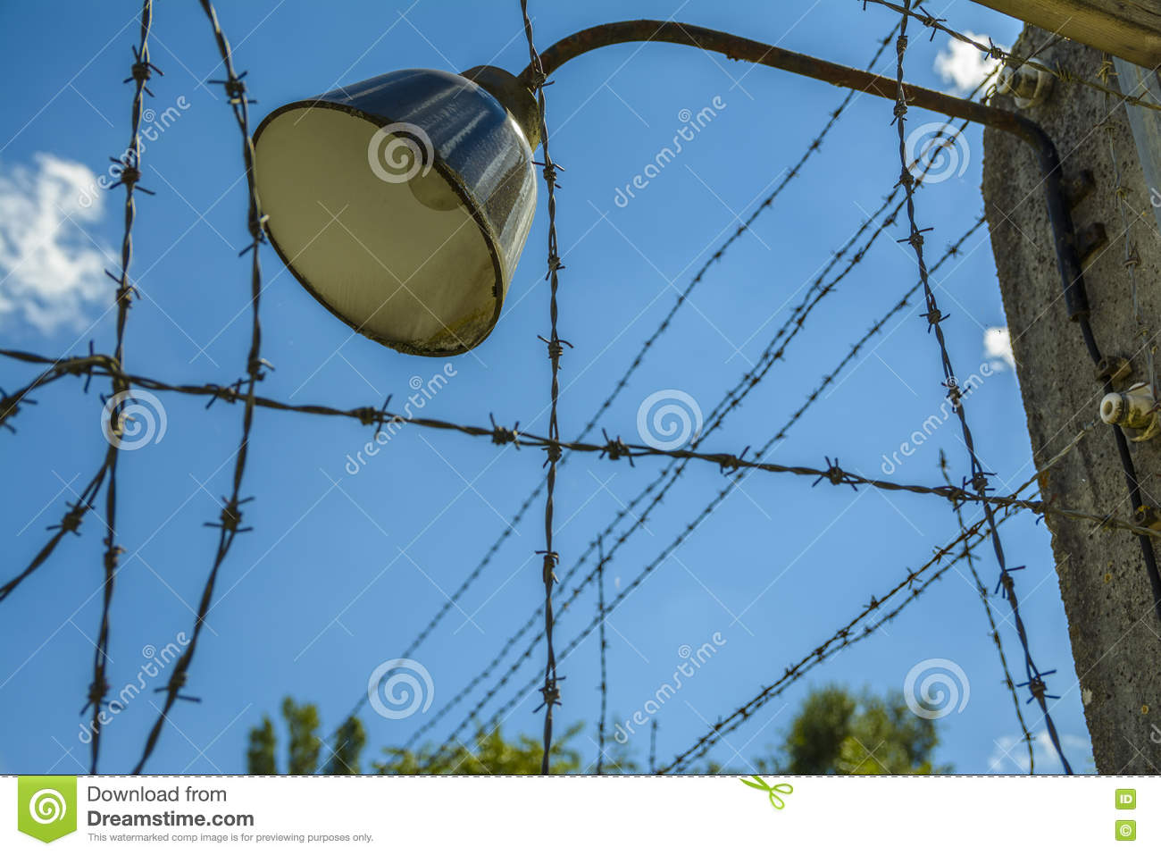 Barbed Wire And Lamp Stock Photo