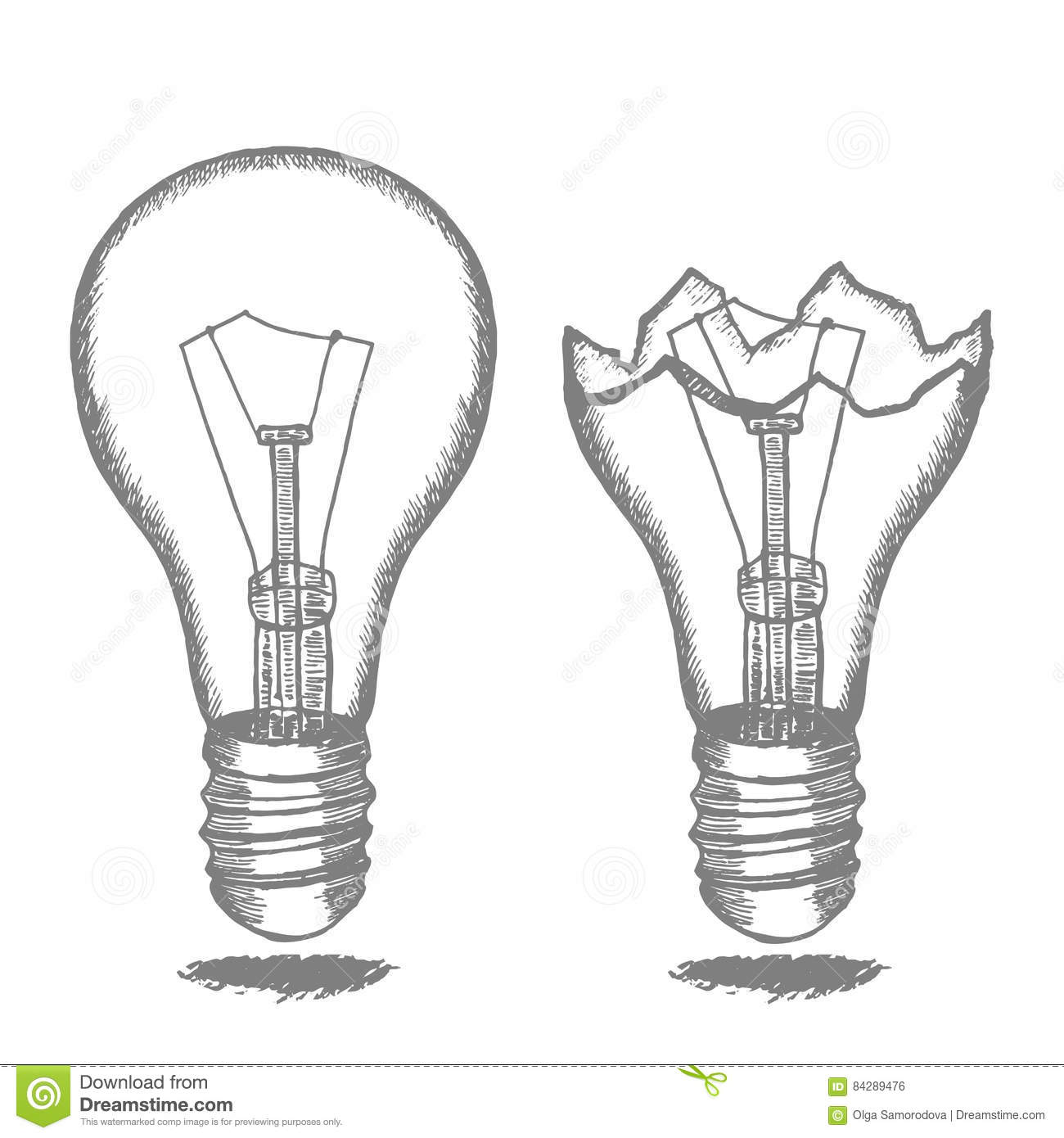 Lamp Bulb Hand Draw Sketch. Vector Stock Vector ... Draw Electric on