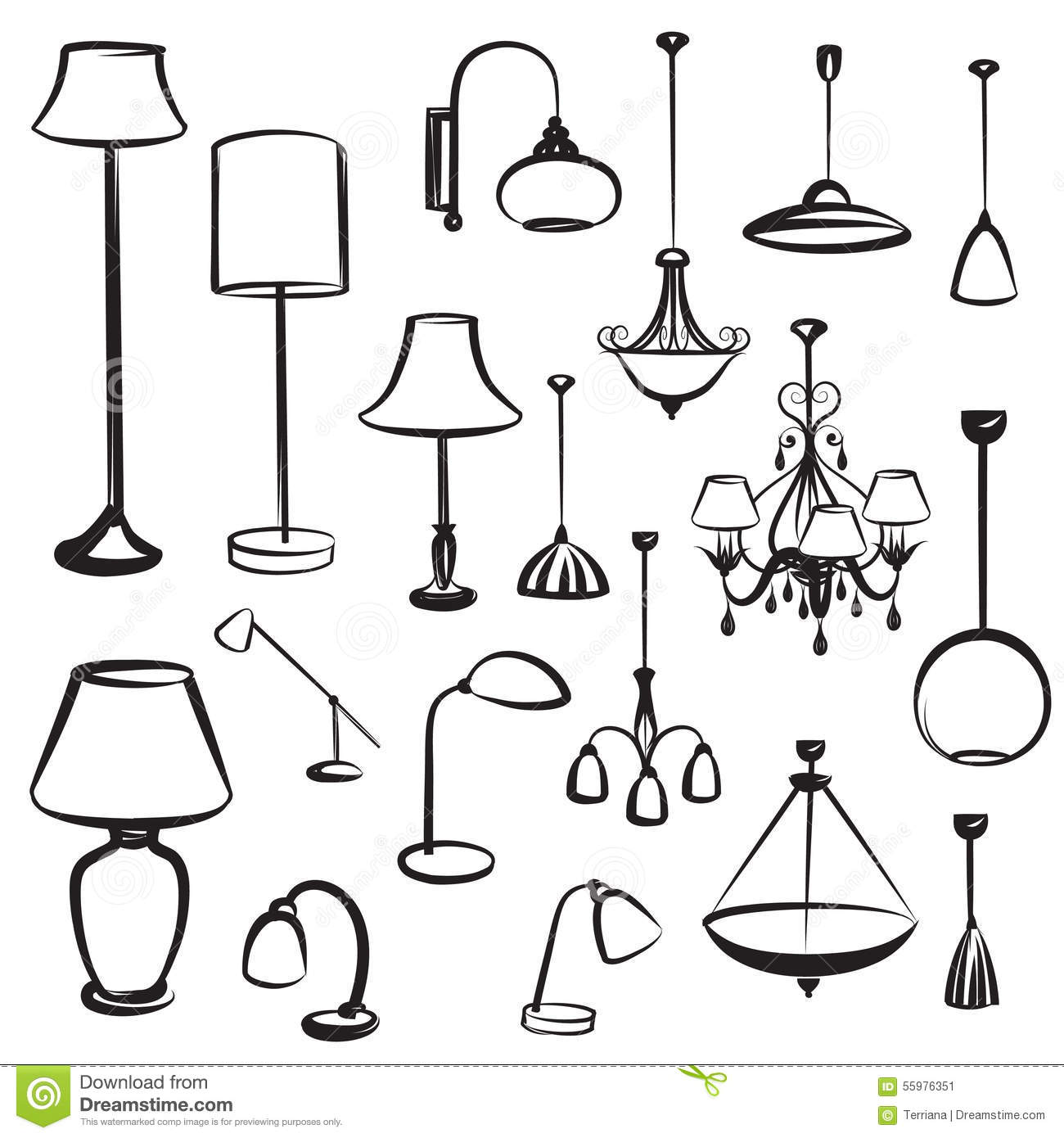 Lamp Furniture Silhouettes Set. Ceiling Light Design Collection.