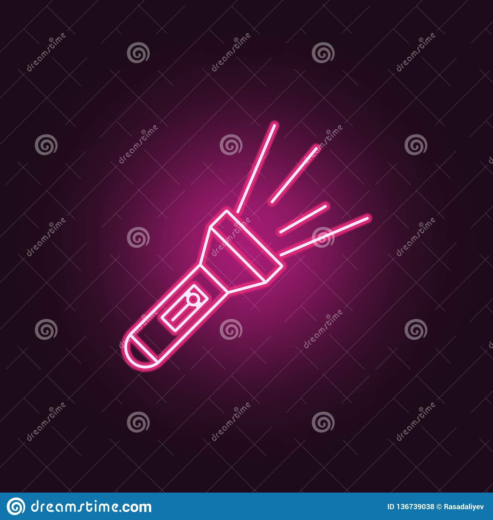 Lamp Icon. Elements Of Crime Investigation In Neon Style Icons. Simple Icon  For Websites