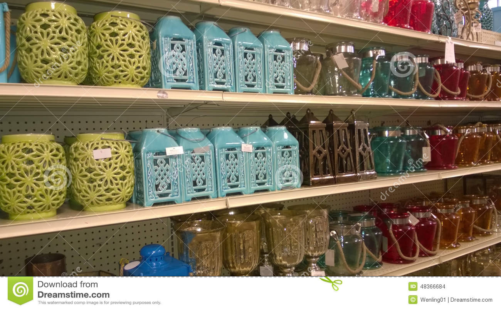 Lamp Lanterns On Shelves Selling Editorial Stock Image - Image of ...