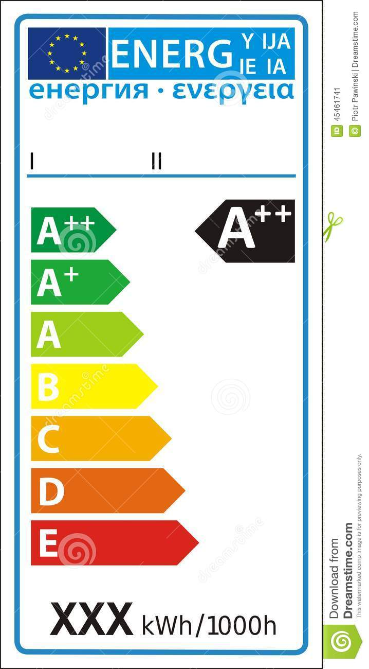 Lamp New Energy Rating Graph Label Stock Vector