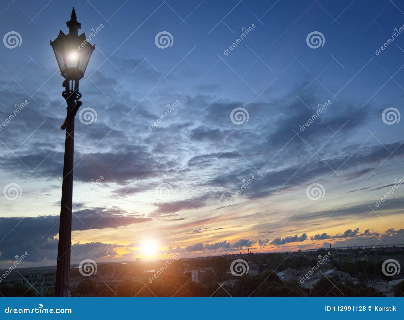 Lamp on an observation deck over the Old city. Tallinn, Estonia