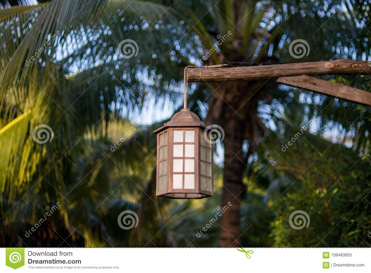 Lamp For Outdoor Lighting Hanging On Tree In The Garden Stock Image Image Of Fairytale Cozy 106483955