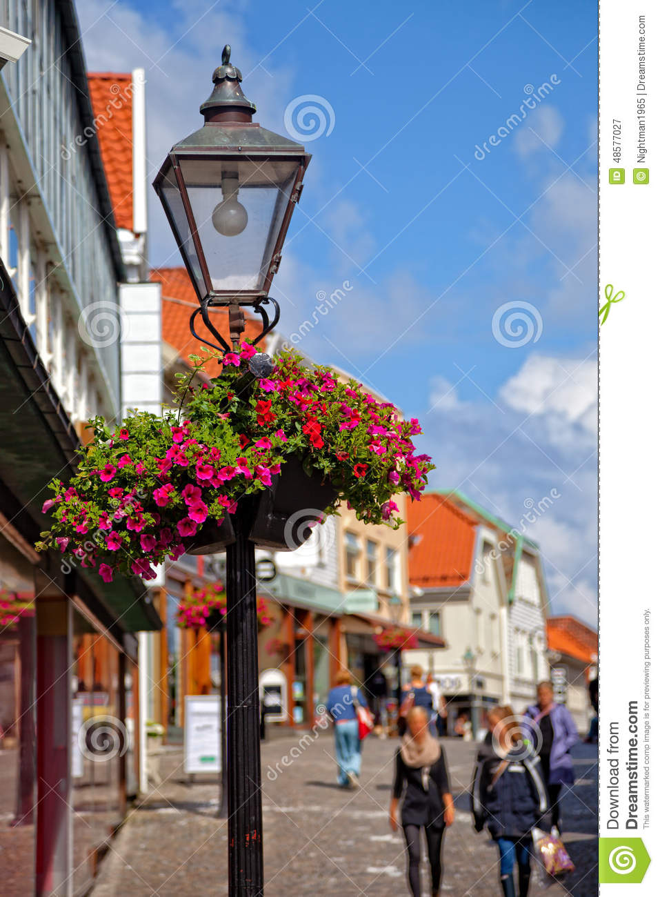 Lamp Post With Flower Basket Stock Photo Image 48577027
