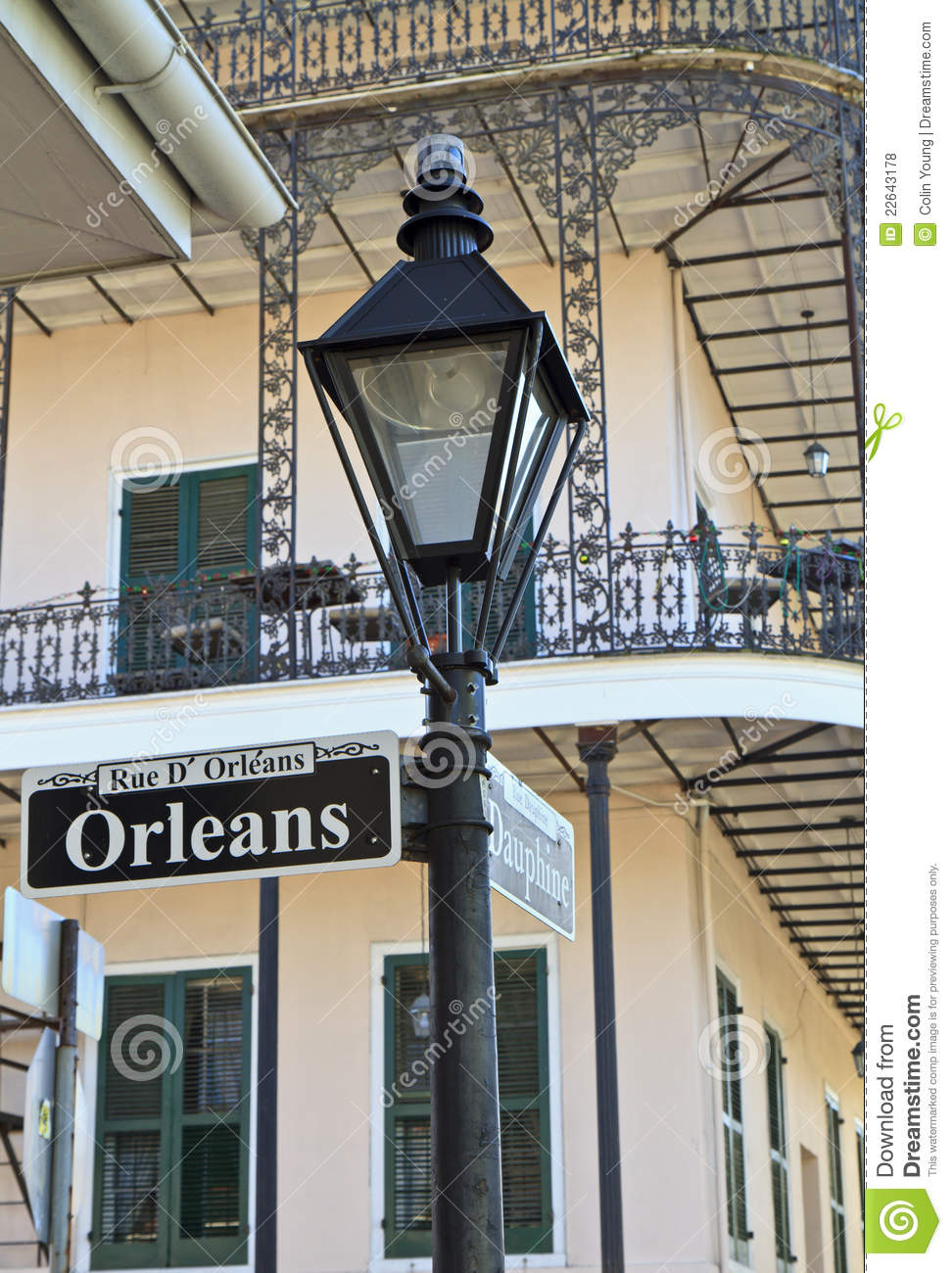 Lamp Post At Orleans And Dauphine Stock Photo Image Of