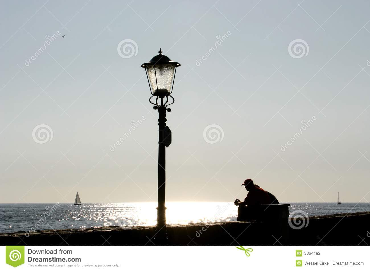 Lamp Post And Resting Man Stock Photo Image Of Bank Looking 3364182
