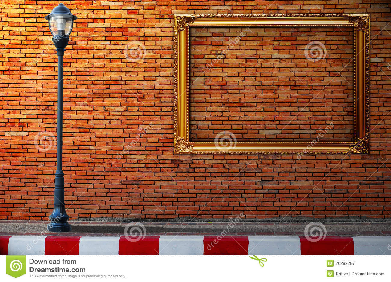 Lamp Post Street And Frame On Brick Wall Stock Image