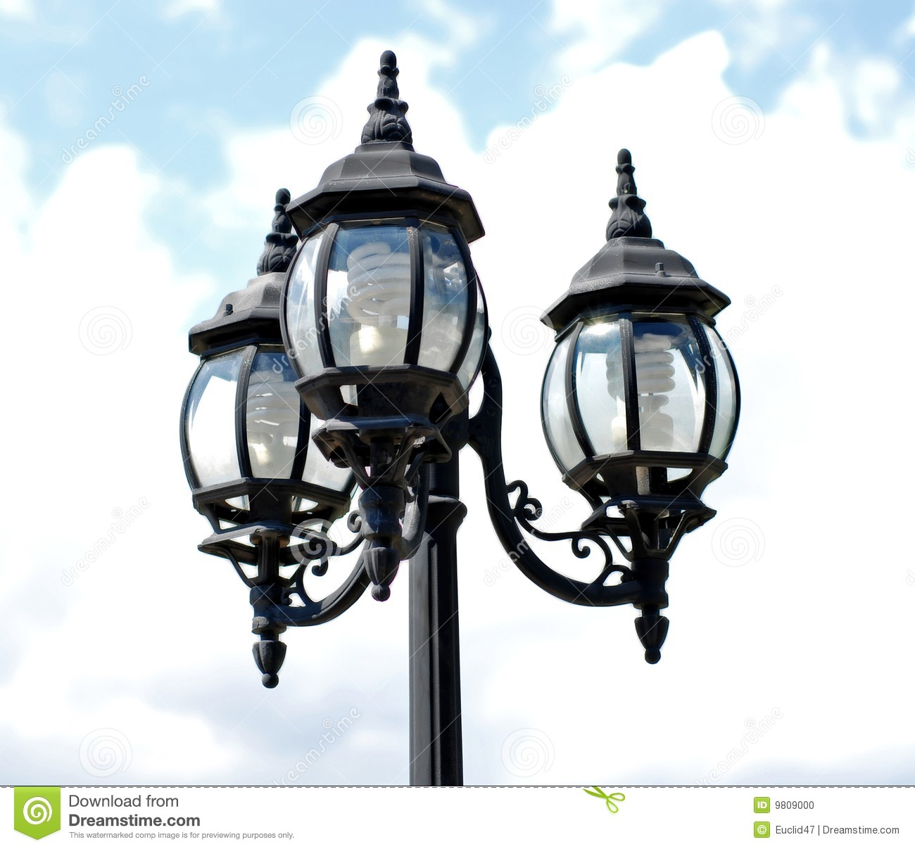 Post: Lamp Post With Three Lights Stock Photo