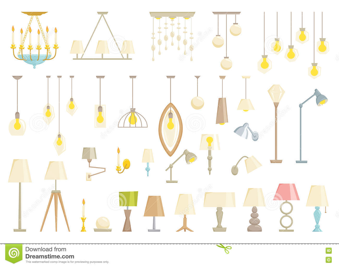 Living room objects furniture and equipment vector illustration - Lamp Set Stock Vector Image 75445984