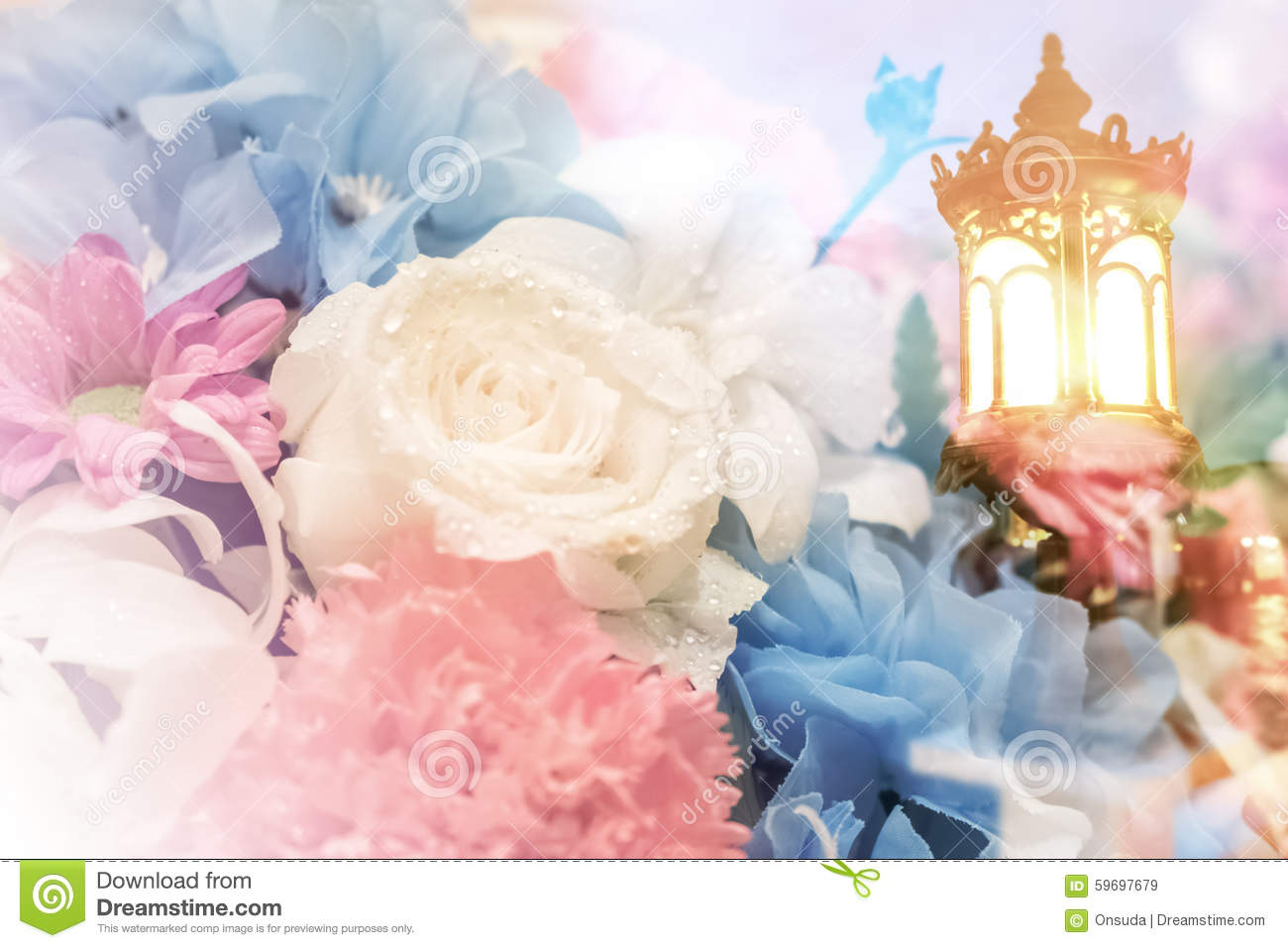 Lamp And Soft Flowers Background Stock Photo Image 59697679