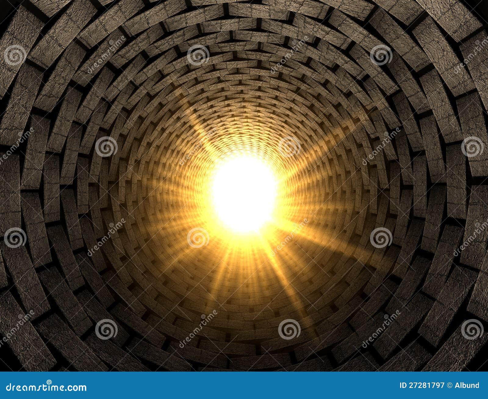 Lampa på slutet av en tegelstentunnel