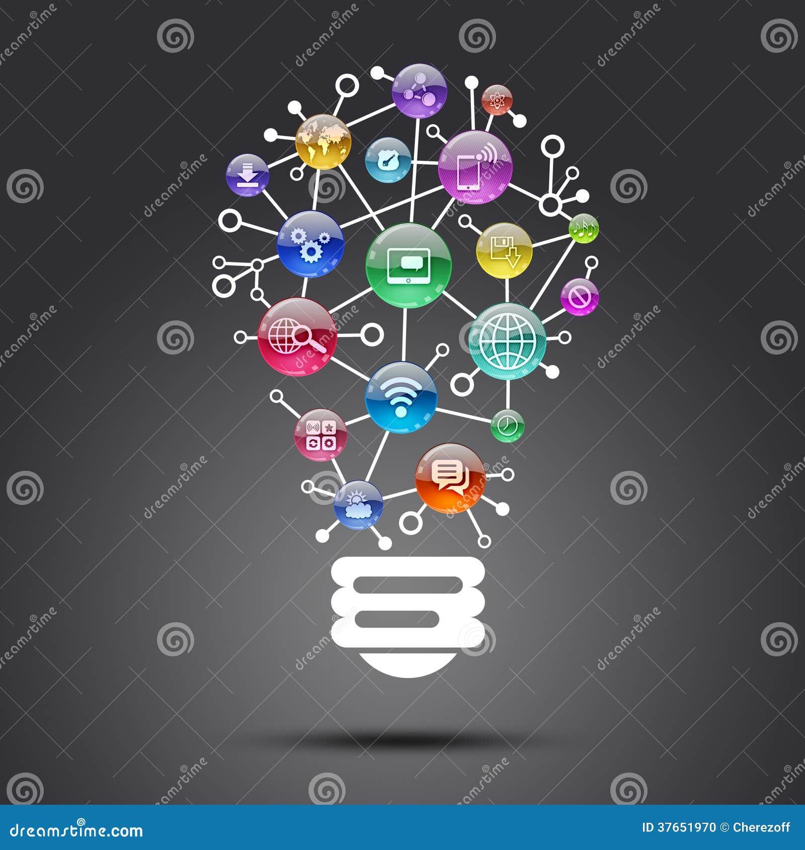 Lampada che consiste delle icone dei apps