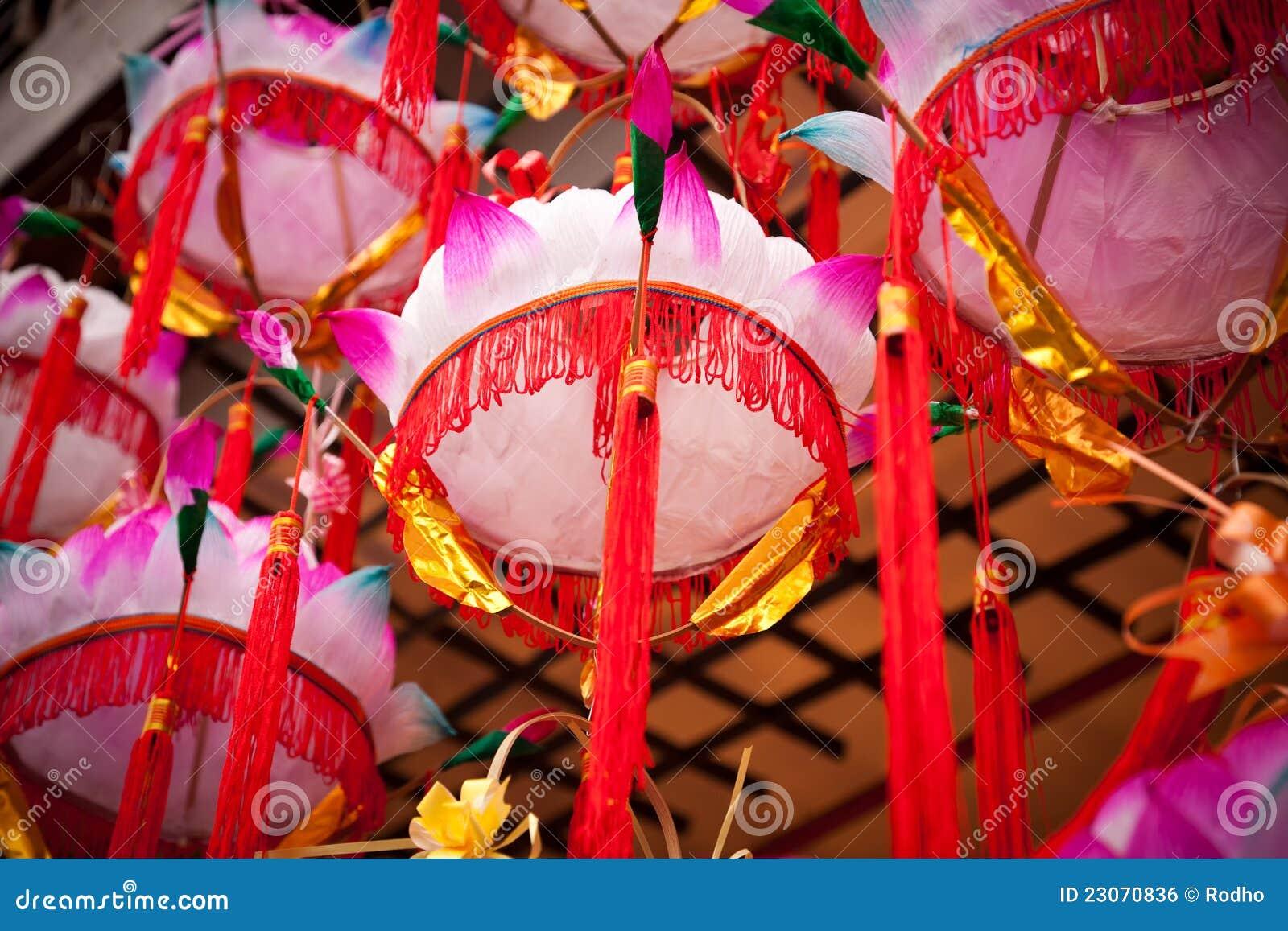 Lampadario Carta Cinese.Lampada Cinese Del Fiore Di Loto Delle Lanterne Di Carta