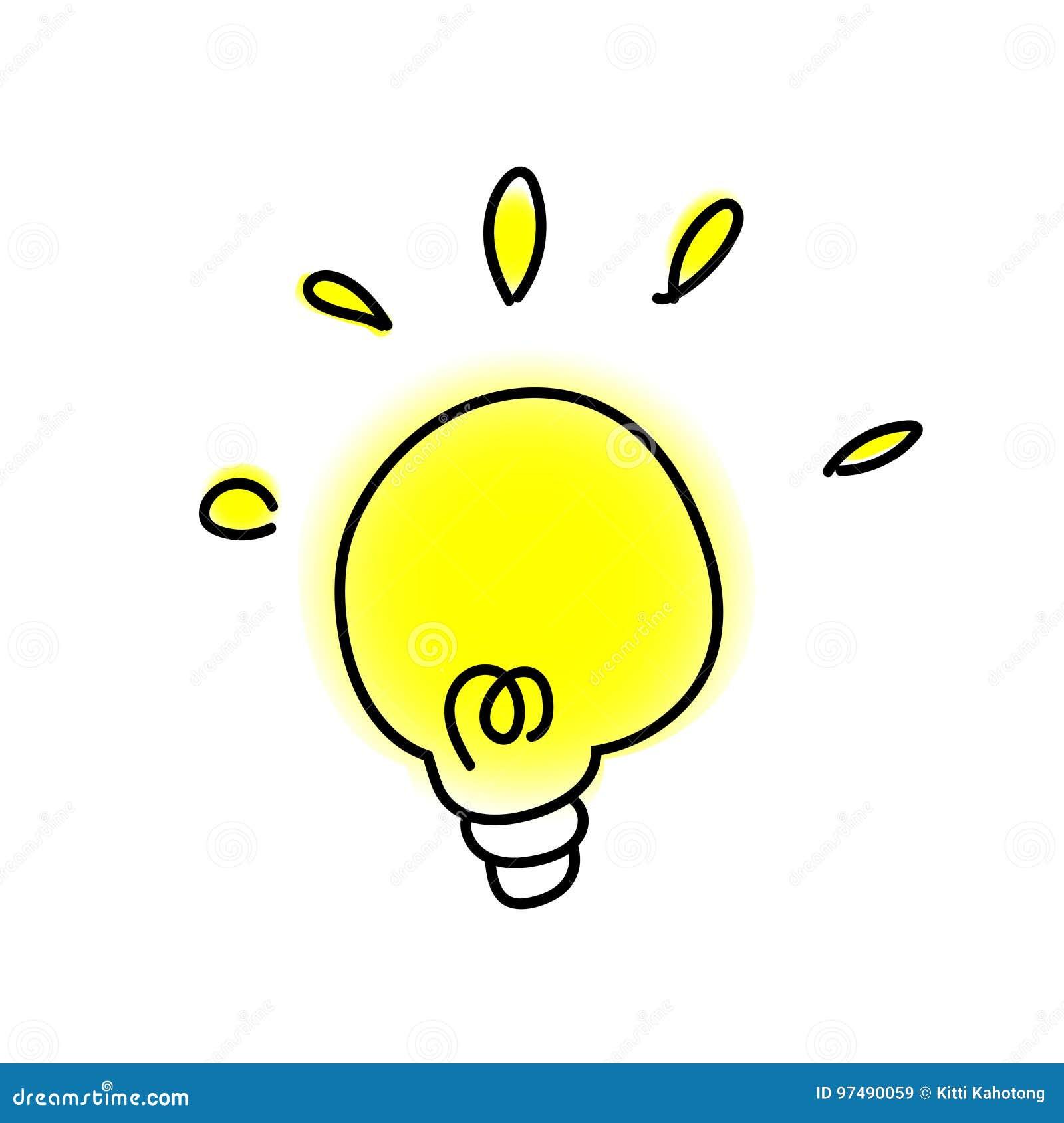 Lampada di scarabocchio - idea su fondo bianco