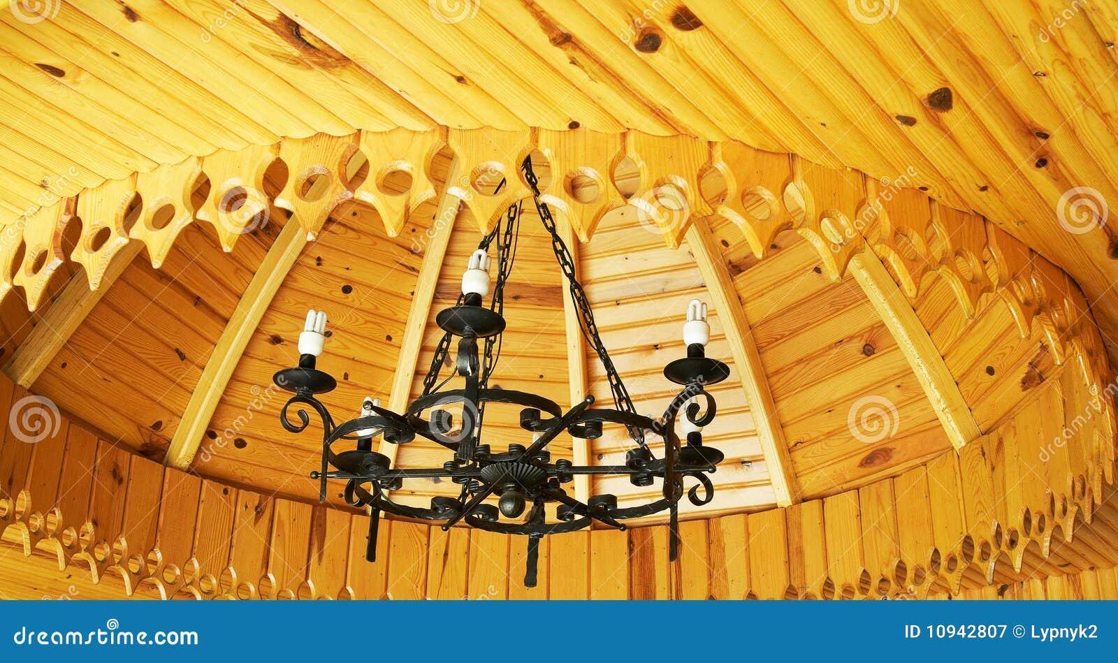 Lampadario a bracci antico del soffitto di legno immagine for Soffitto della cattedrale di legno