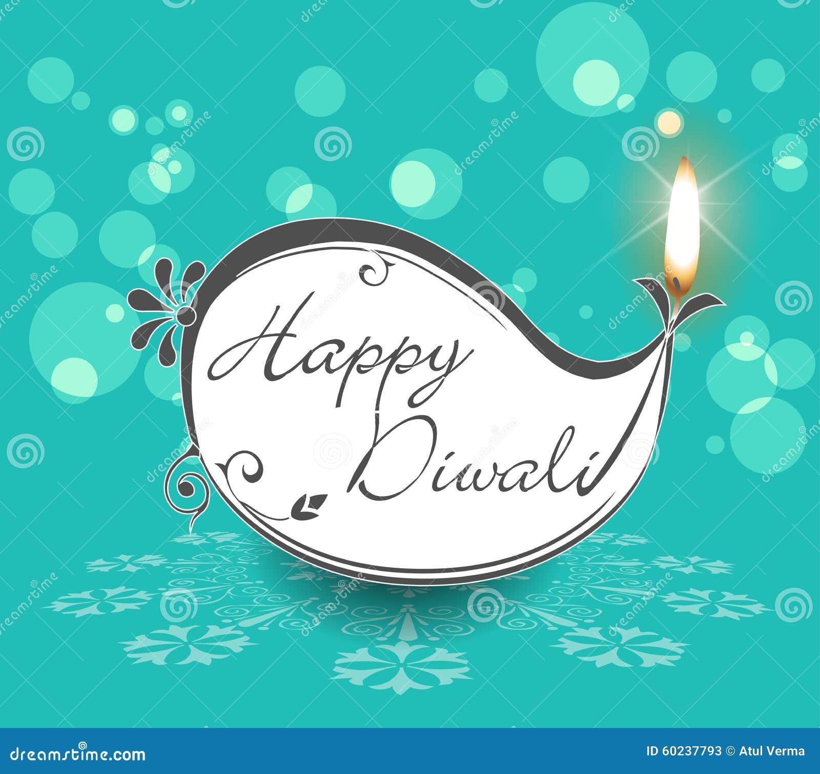 Lampade decorative di Diwali, progettazione piana felice della cartolina d auguri di diwali