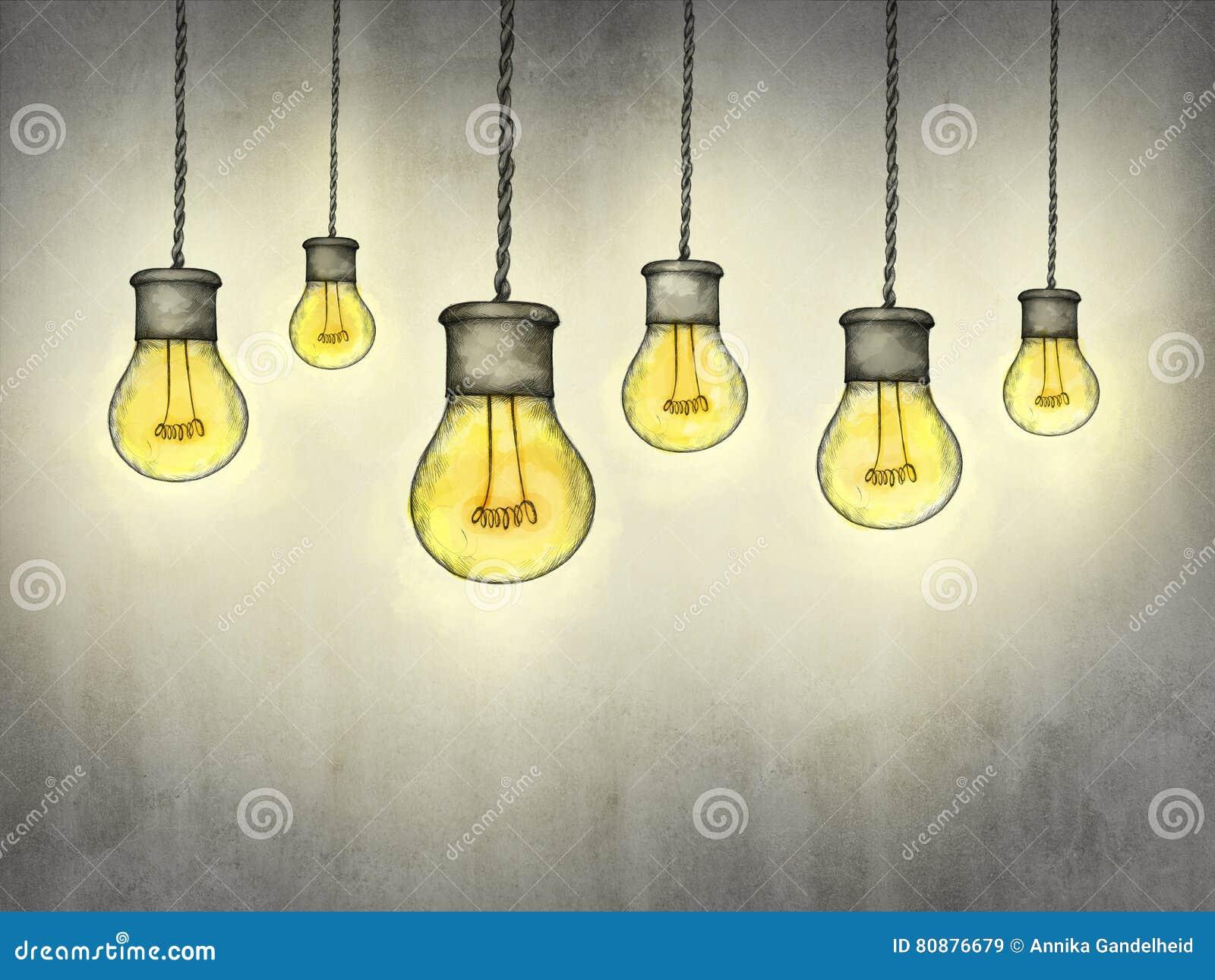 Lampade a sospensione nello stile industriale illustrazione di stock