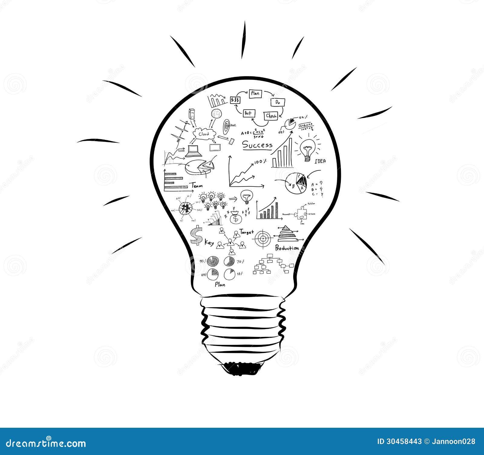 Lampadina Con Il Grafico Del Disegno Dentro Illustrazione Di Stock