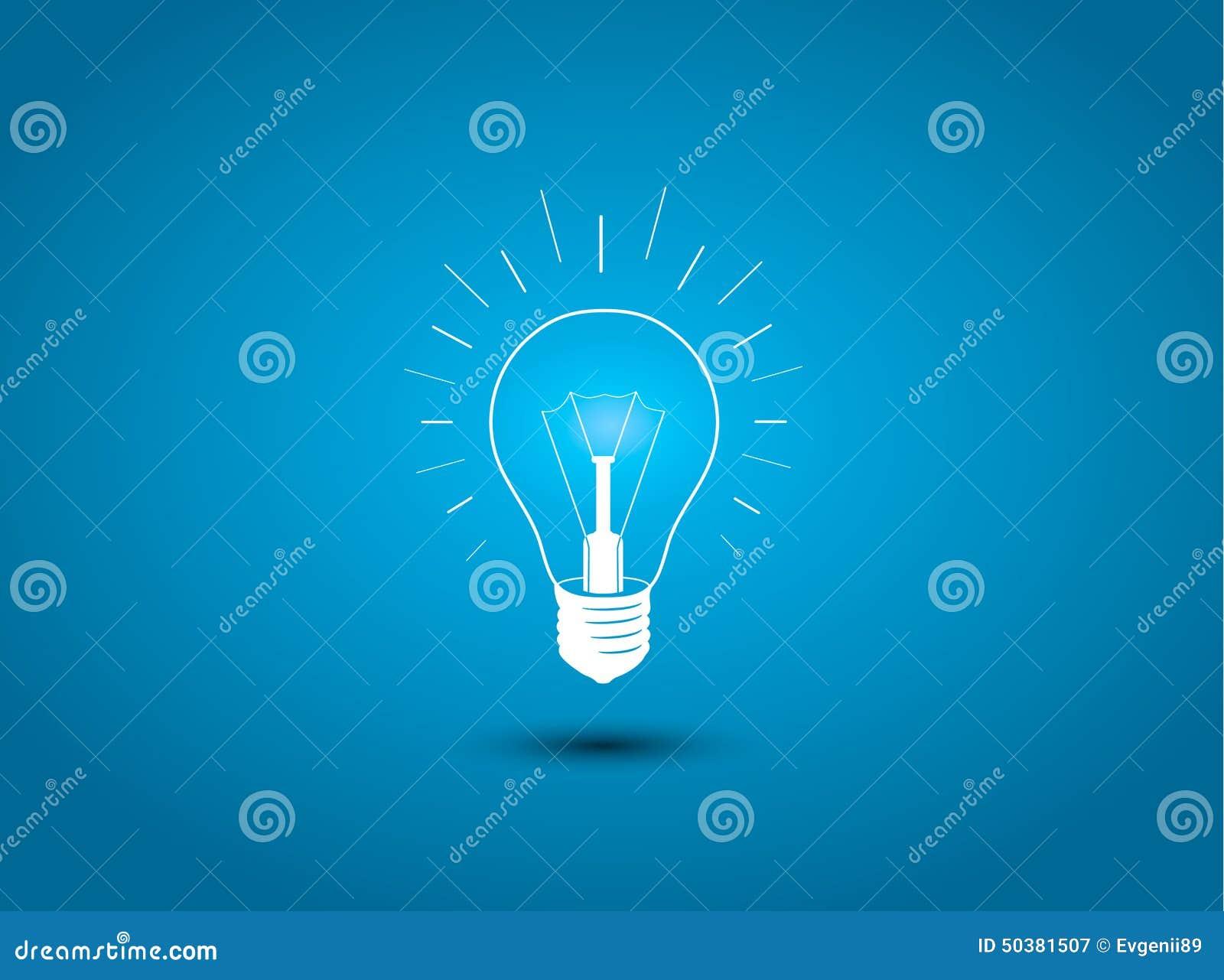 Lampadina, icona di idea sullillustrazione blu di concetto del fondo.
