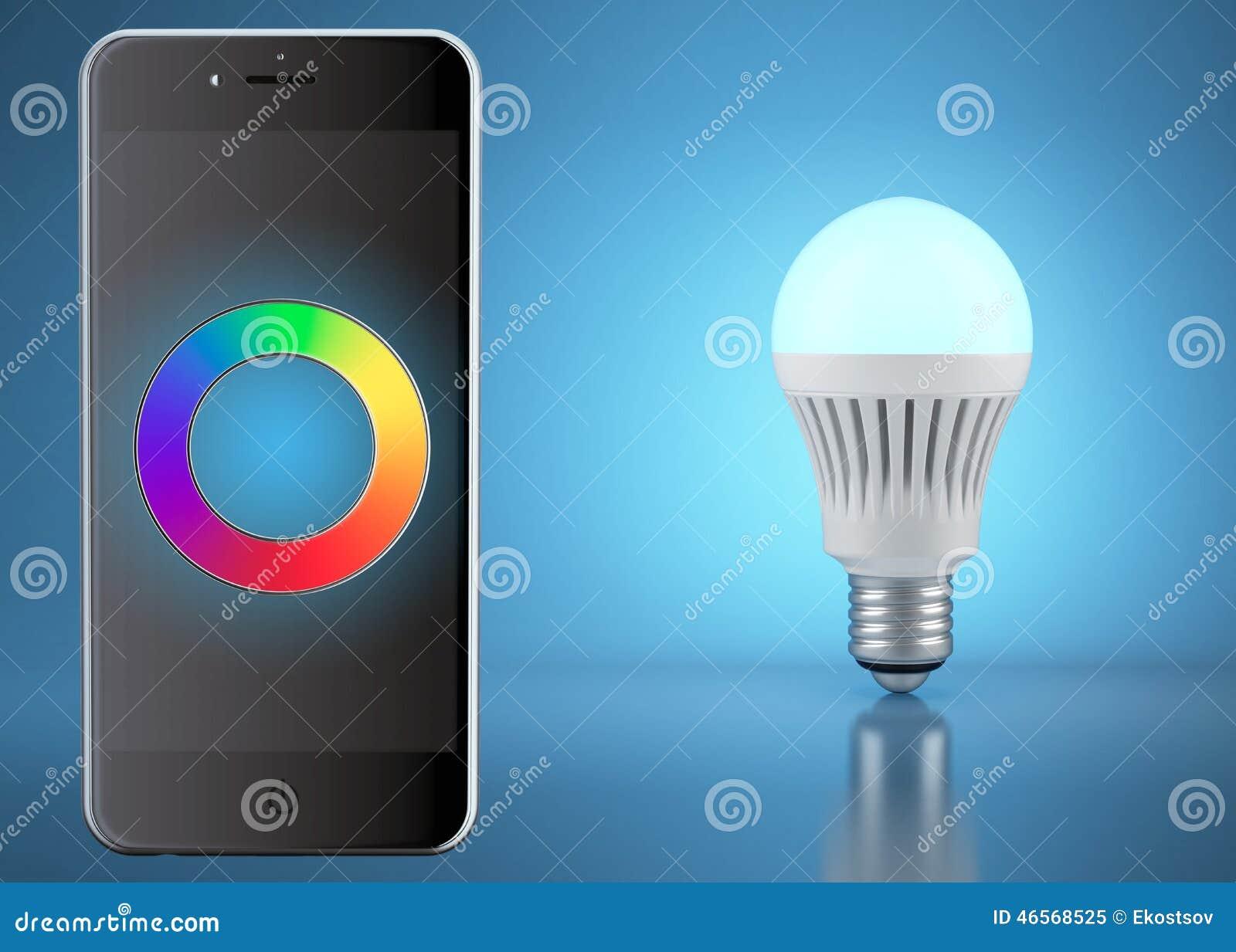 Lampada Led Con Telecomando.Lampadina Multicolore Del Led Con Telecomando Dal Telefono