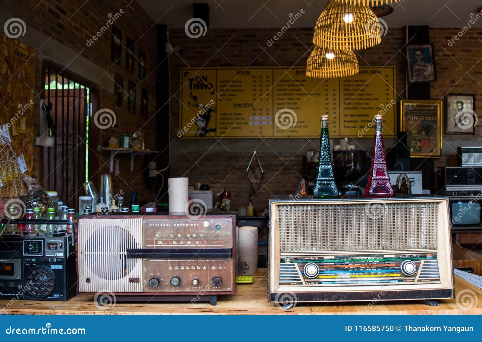 Lampang, Thailand -May 4,2018:classic decorations, old radios and beautiful accessories of coffee shop at Tontang cafe, Lampang.