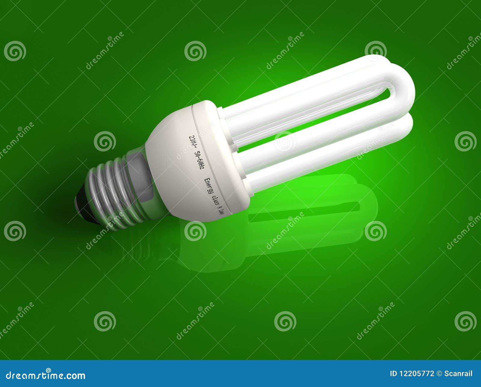 Lampe à énergie réduite au-dessus de vert