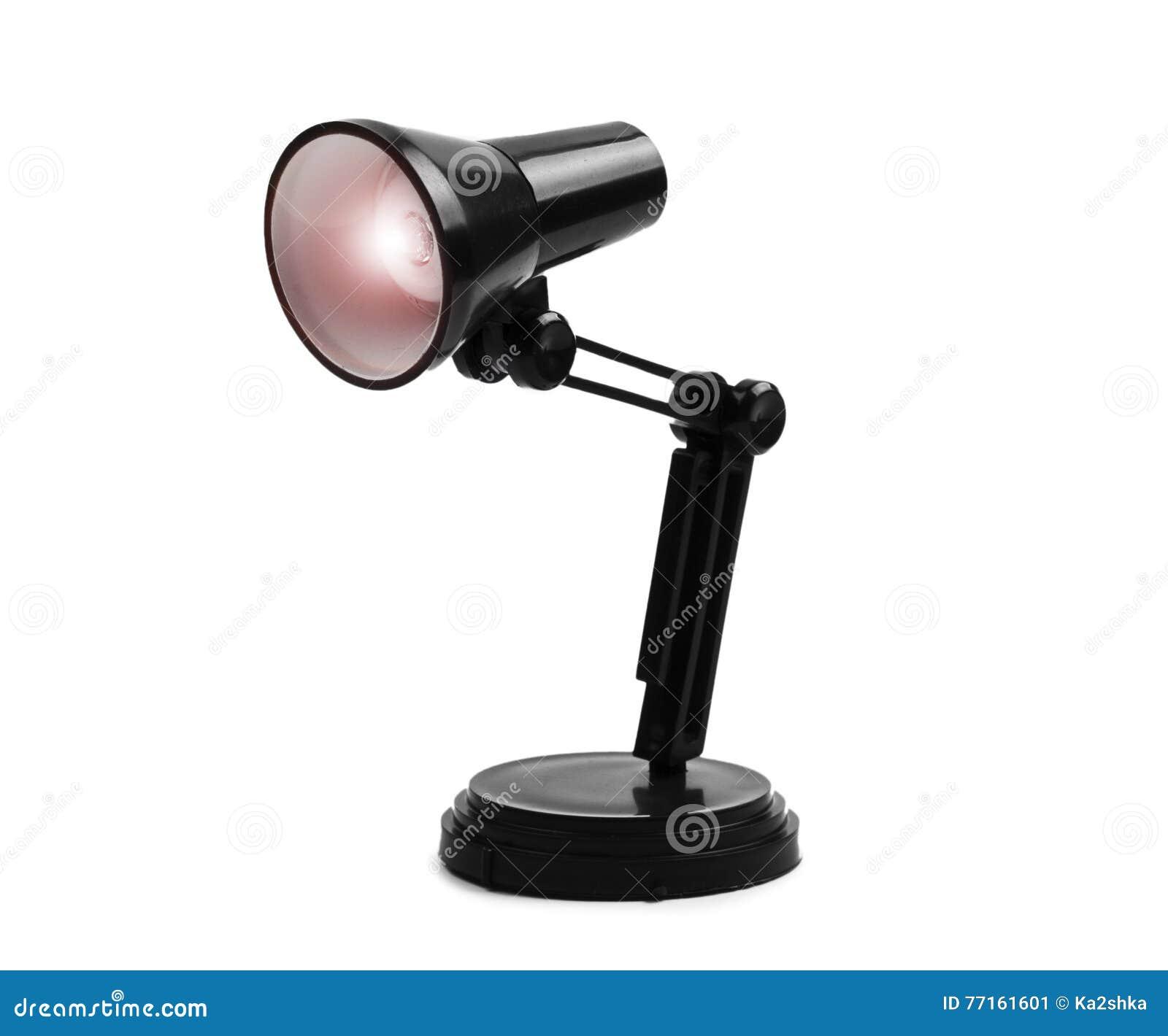 Lampe de table noire de lecture d isolement au-dessus du fond blanc