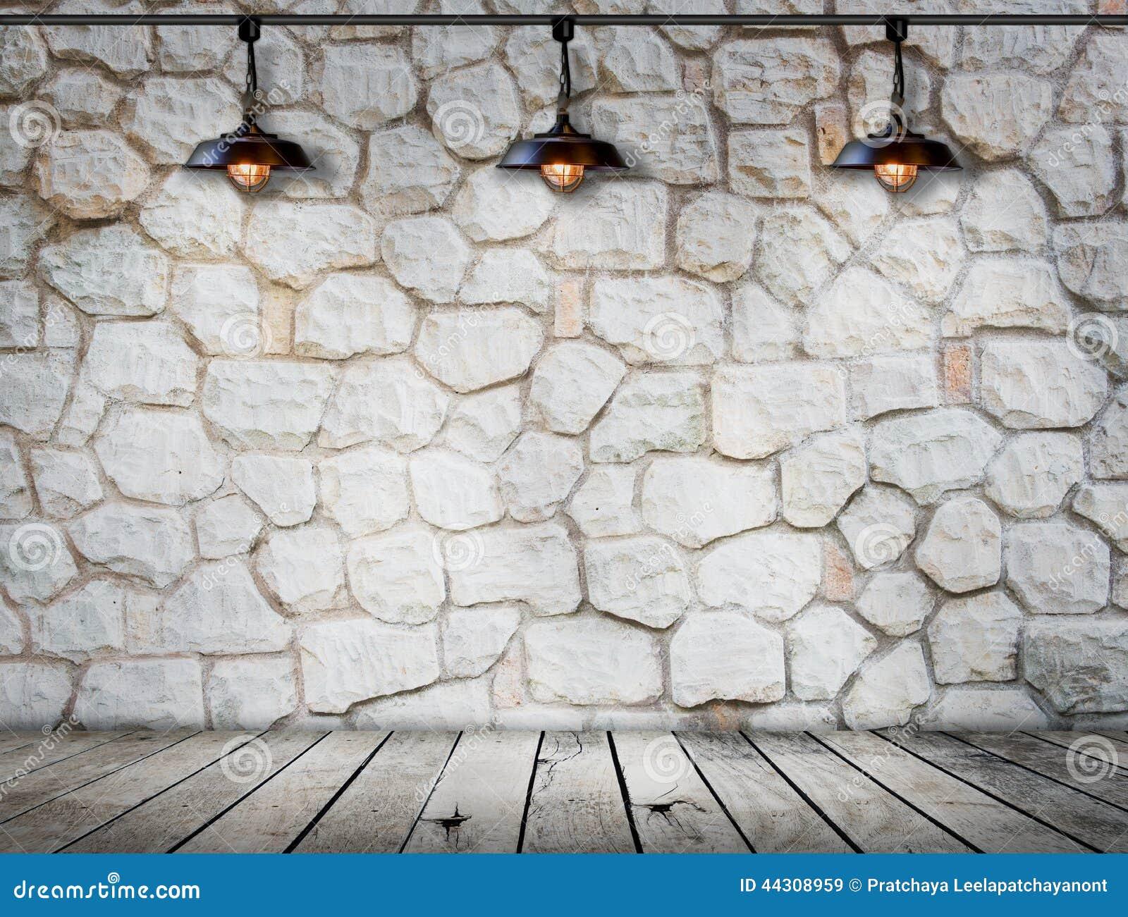 Lampe An Der Steinwand Auf Holzfußboden Raum