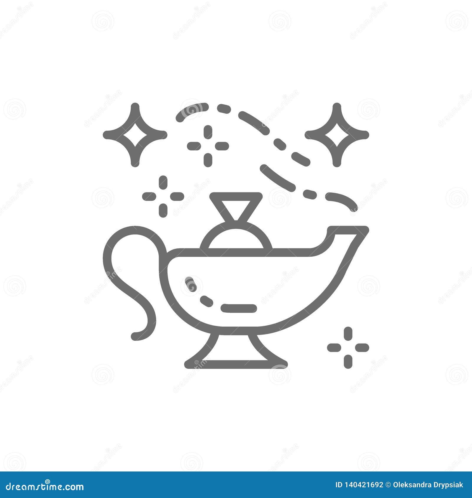 Lampe magique orientale, ligne icône de navire d Aladdin