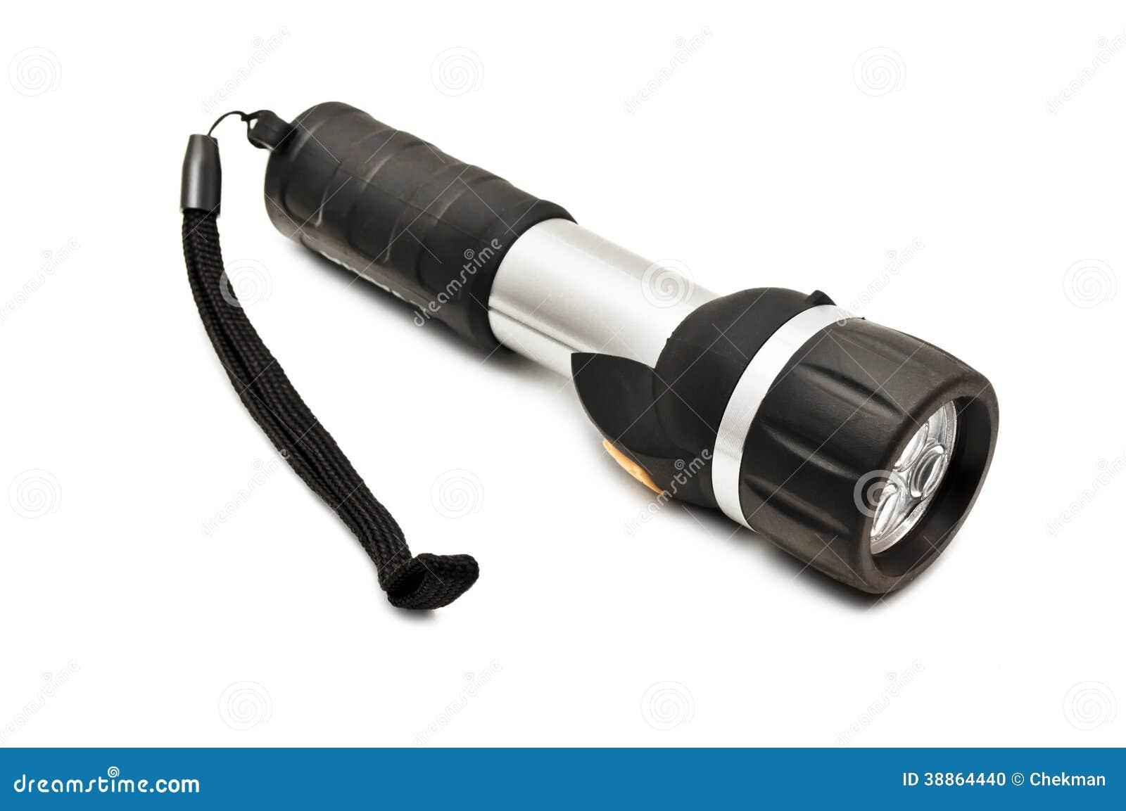 Lampe-torche sur un fond blanc