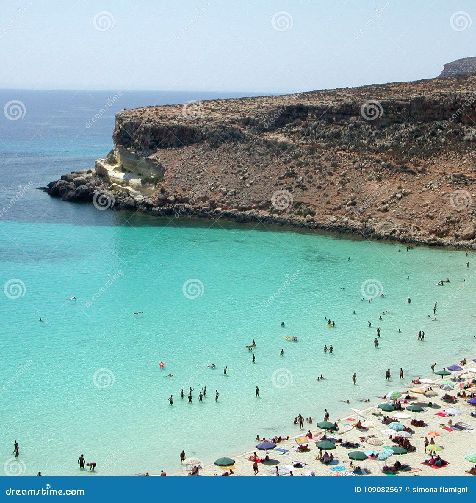 Isola dei Conigli beach in Lampedusa