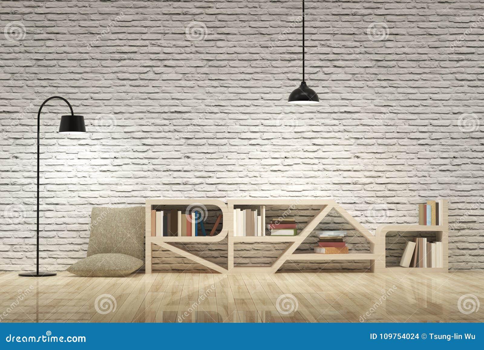 Lampes Avec La Bibliothèque Sur Le Plancher Et Le Mur De ...