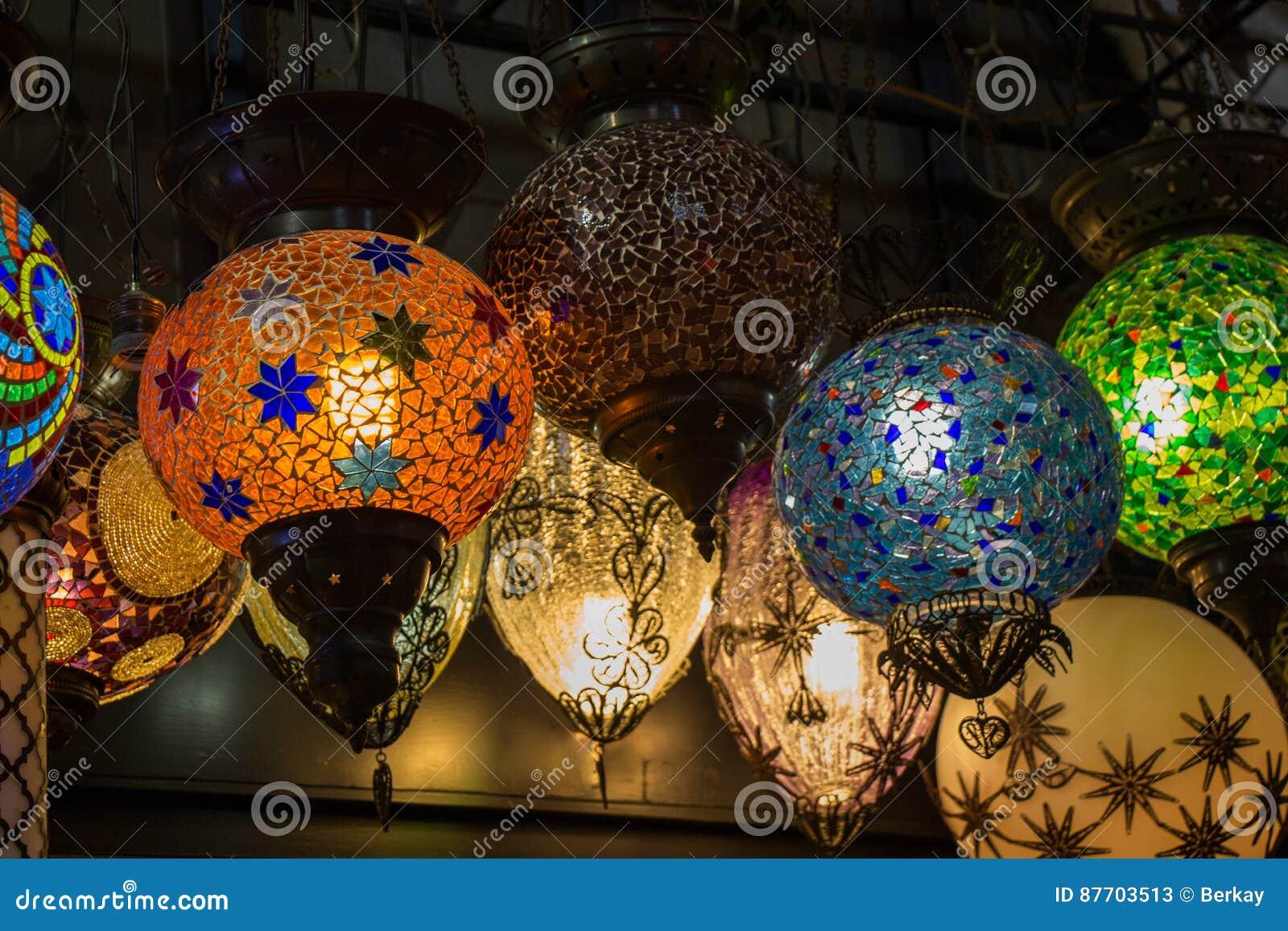 Lampes de tabouret de mosaïque de bazar grand