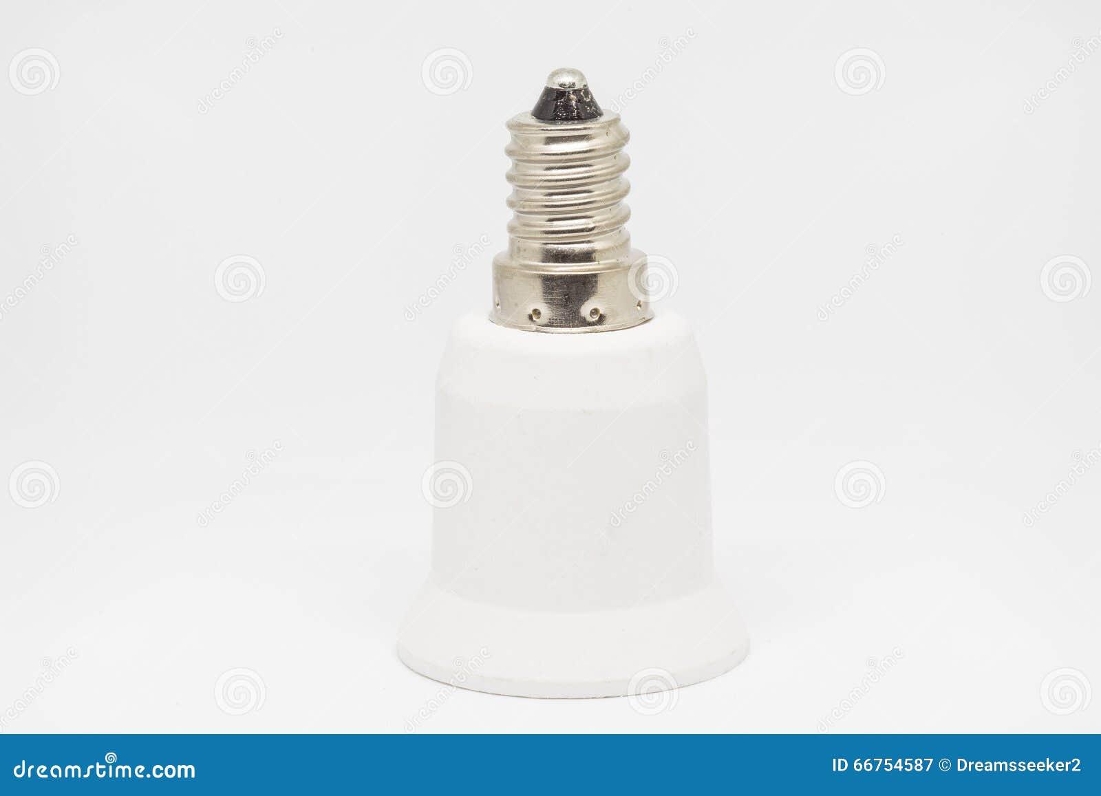 Lampholder Adapter E14 To E27 Stock Image - Image of fixture