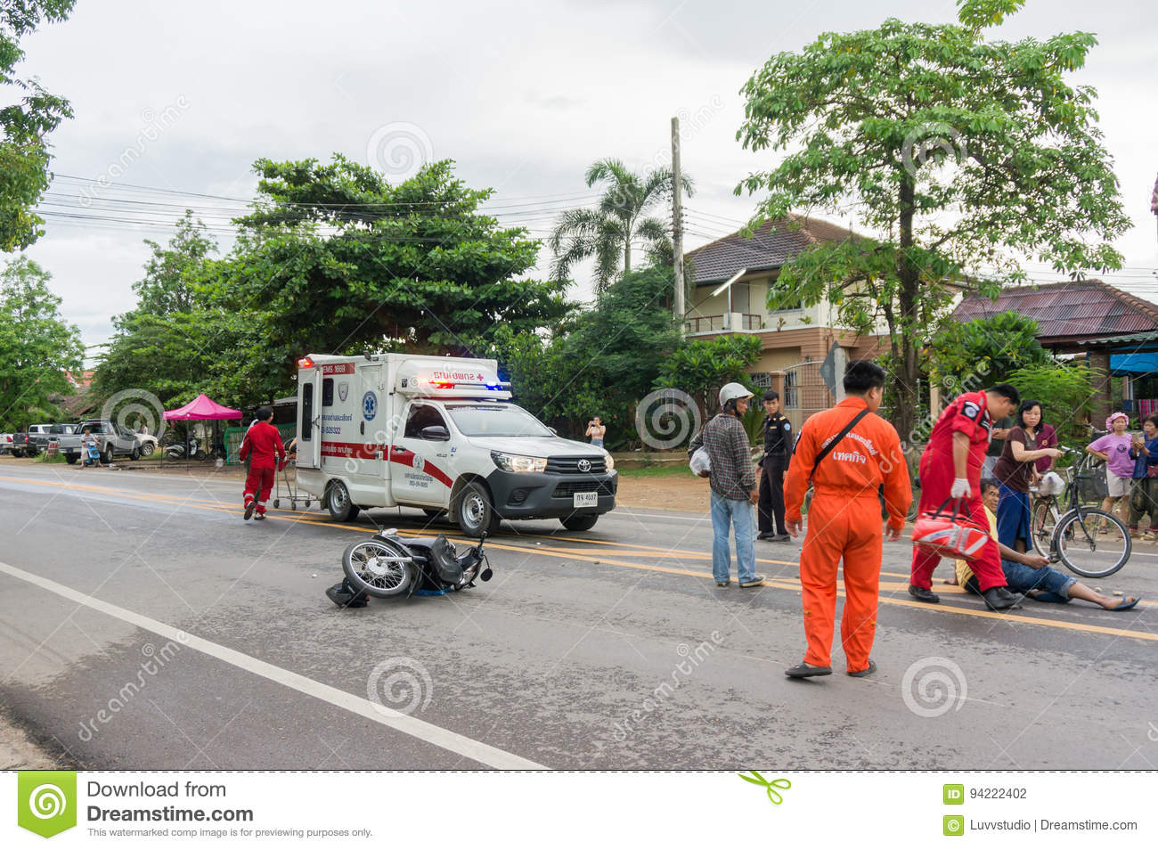 LAMPHUN, THAILAND - JULY 04,2017 : Motorcycle Accident On
