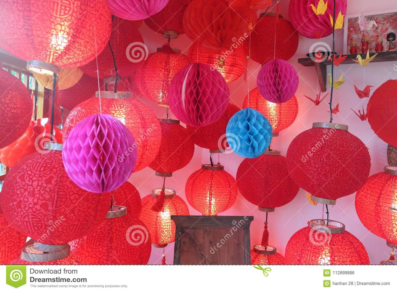 Asian Paper Lampion Lights. House, Color. Editorial Photo - Image of ...