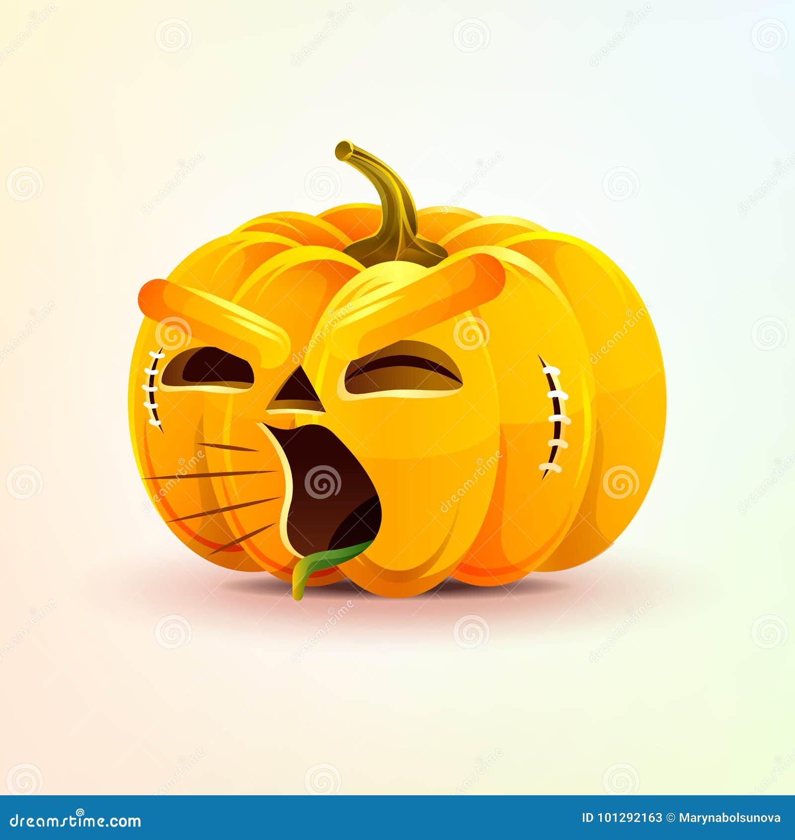 Lampion, okropna wyraz twarzy bania, wrzeszczy wrzasku smiley emocję, emoji, majcher dla Szczęśliwego Halloween
