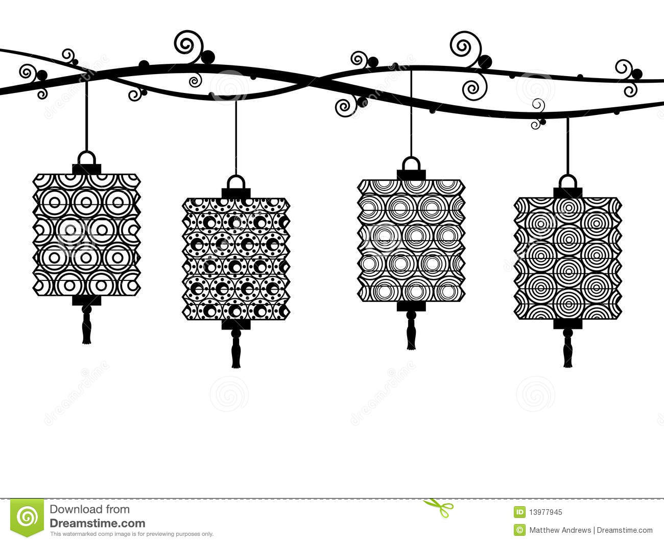 Lampions illustration de vecteur illustration du silhouette 13977945 - Dessin lampion ...