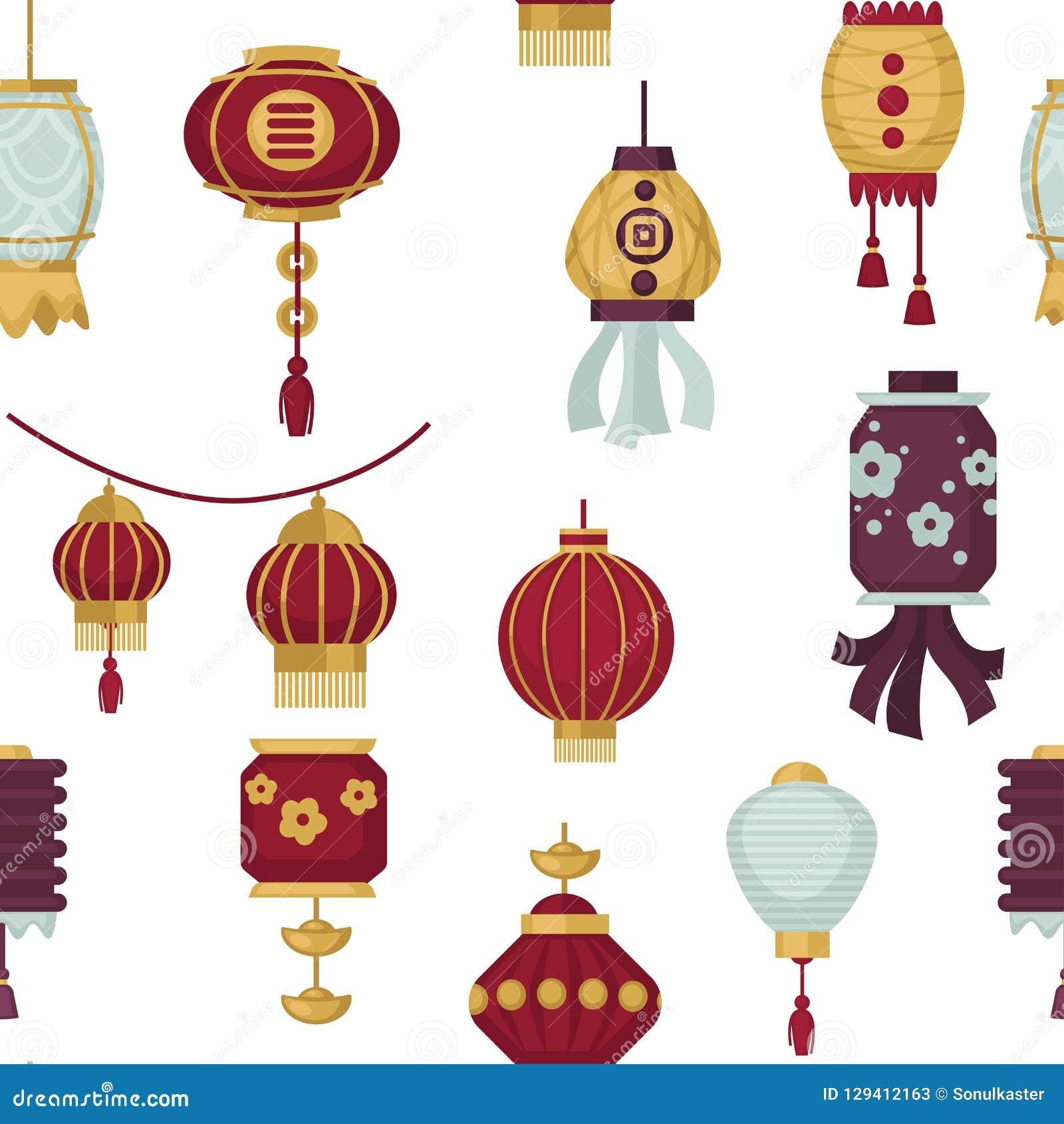 Lampiony Wschodni i Orientalny stylowy bezszwowy deseniowy wektor