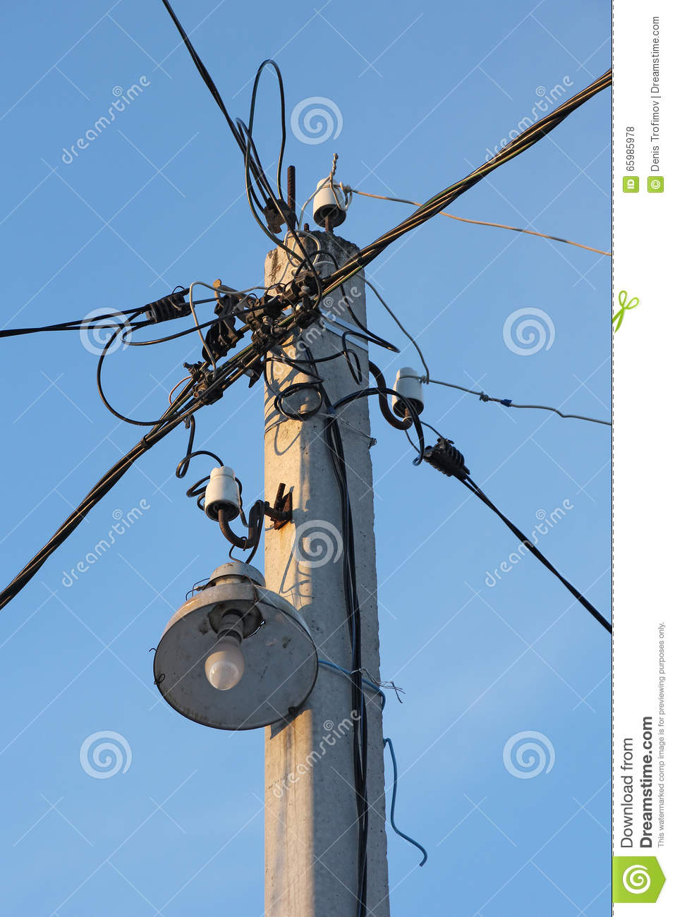 Tremendous Lamppost With A Bulb And Wires In Different Directions Stock Photo Wiring 101 Akebwellnesstrialsorg