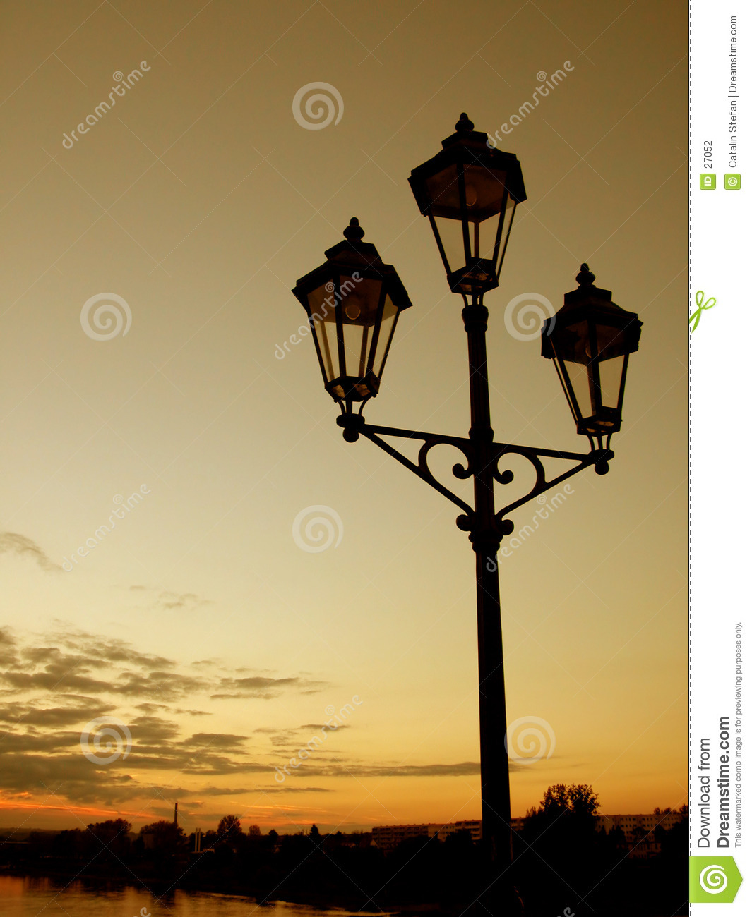 Lamppost at sunset