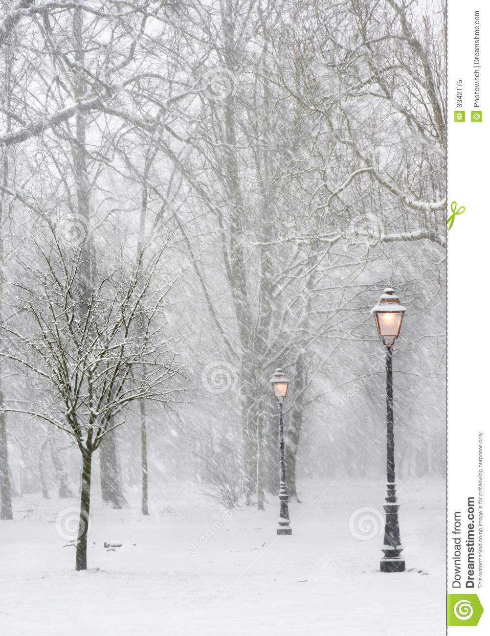 Lampposts in the snow