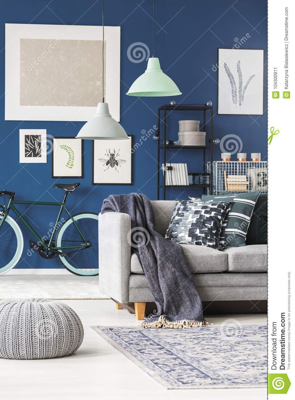 Lamps Above Grey Sofa With Blanket In Living Room Gallery On Dark Blue Wall And Bicycle