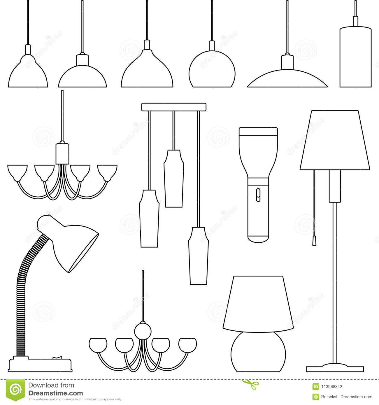 Lamps of different types set chandeliers lamps bulbs table lamp lamps of different types set chandeliers lamps bulbs table lamp flashlight floor lamp elements of modern interior line art illustration arubaitofo Image collections