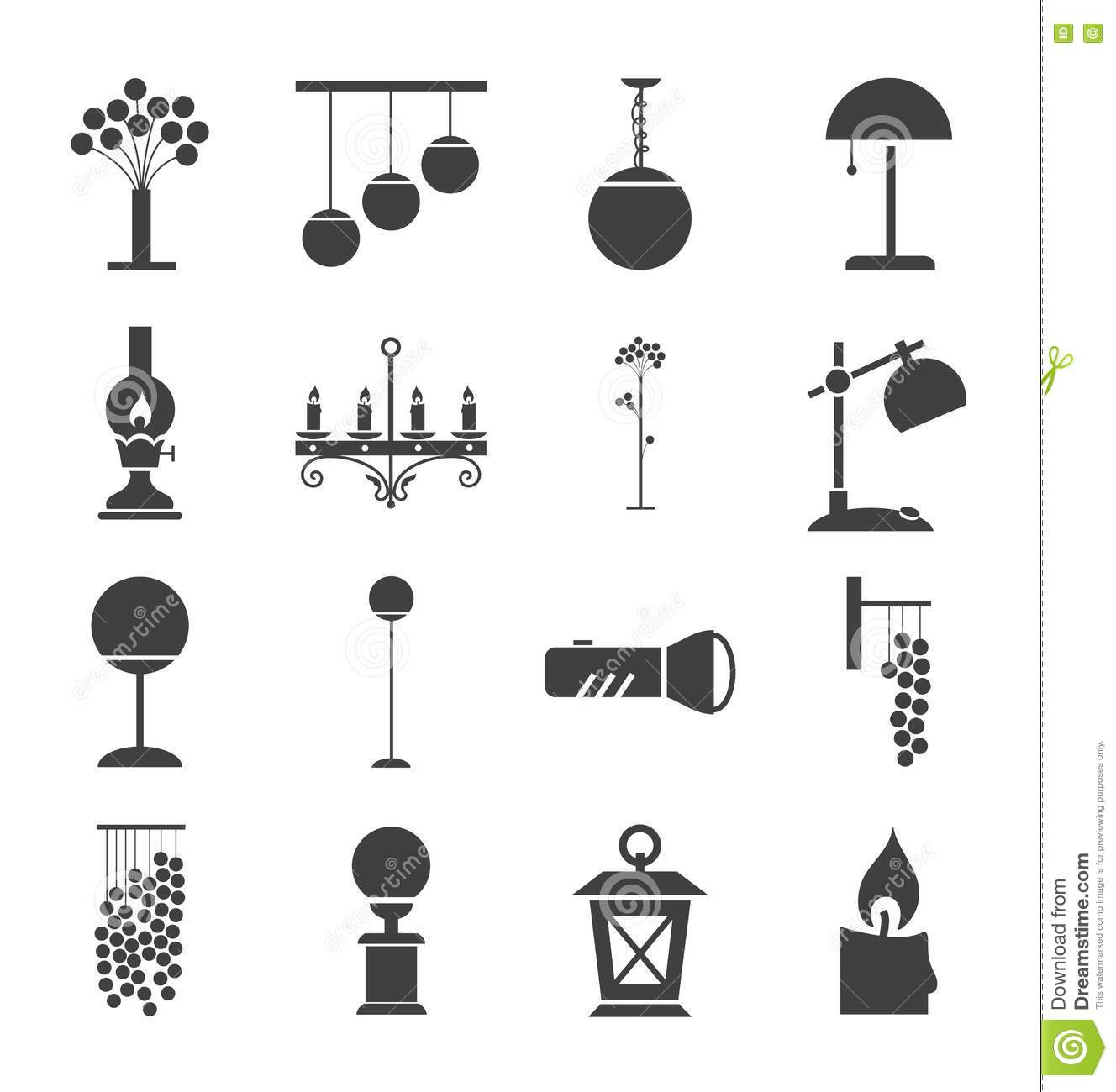 Lamps For Home And Garden, Icons, Monochrome. Stock Vector