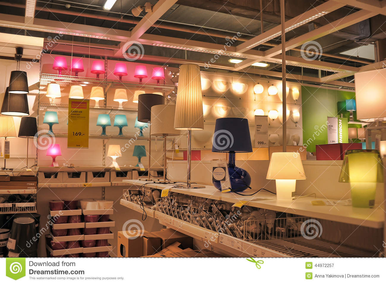 Lamps And Lighting Fixtures In The Store Editorial ...