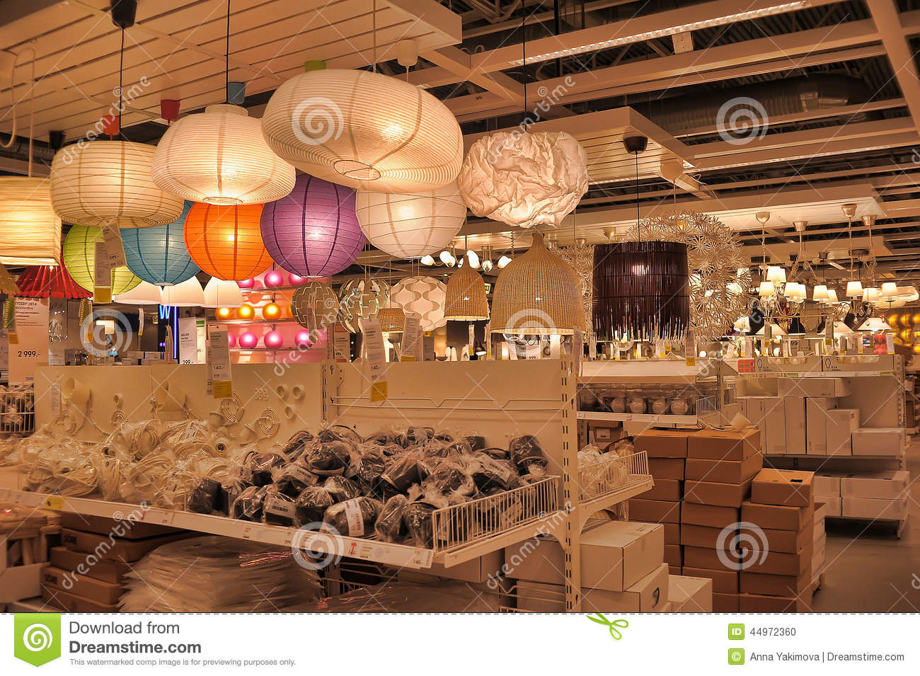 Lamps And Lighting Fixtures In The Store Editorial Image