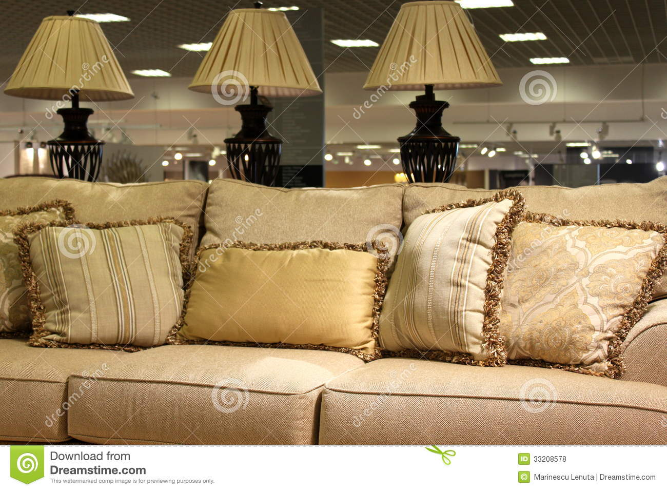 Lamps And Modern Sofa Stock Photo Image Of Live Lamps 33208578 ~ Designer Pillows For Sofa