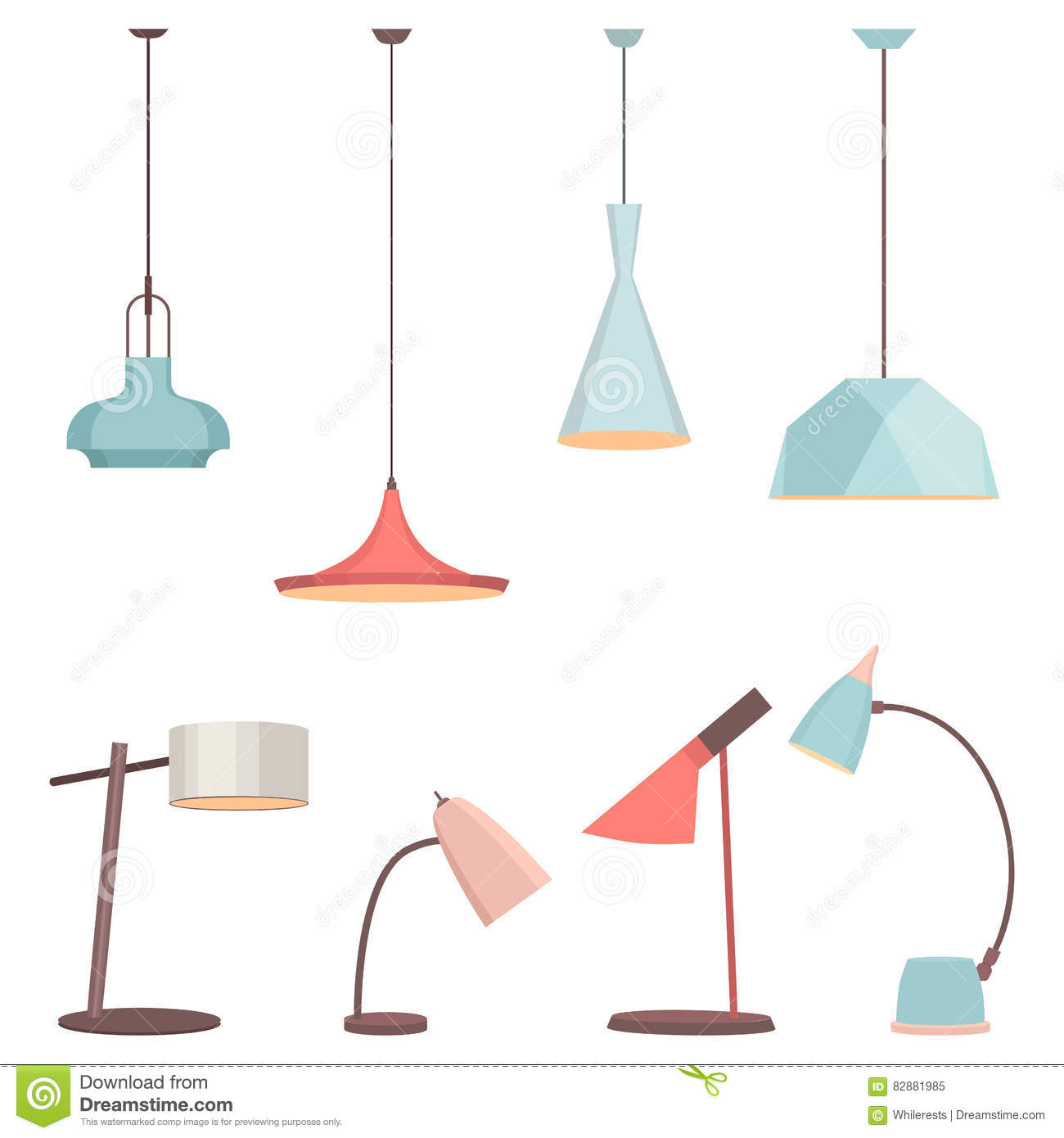 Lamps Sign Set For Interior Electricity Floor Lamp And Table Concept Home Decoration